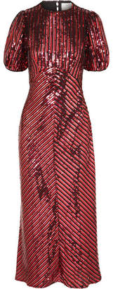 RIXO - Laura Jackson Daisy Velvet-trimmed Sequined Crepe Midi Dress - Red