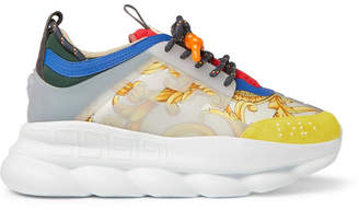 Versace Chain Reaction Panelled Canvas Sneakers
