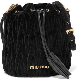 Miu Miu Leather-trimmed Matelassé Velvet Bucket Bag - Black