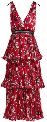 Self-Portrait Self Portrait Pleated Floral Print Midi Dress - Womens - Red Multi