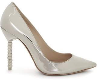 Sophia Webster Coco Crystal Embellished Heel Leather Pumps - Womens - Silver