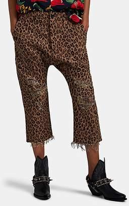 R 13 Women's Leopard-Print Cotton Utility Pants