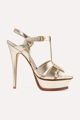 Saint Laurent Tribute Metallic Leather Platform Sandals - Gold