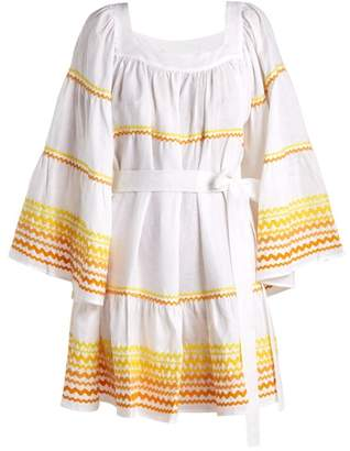Lisa Marie Fernandez Peasant Flared Sleeve Linen Dress - Womens - White Multi