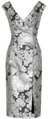 Erdem Metallic floral jacquard dress