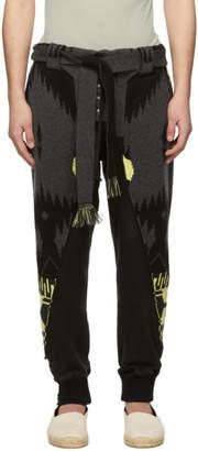 Greg Lauren Alanui Grey Edition Jacquard Lounge Pants