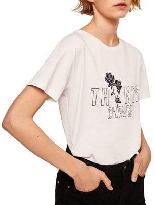 MANGO Things Change Embroidered Cotton Tee