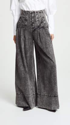 Sea Noir Denim High Waisted Corset Pants