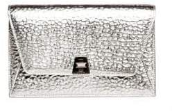 Akris Women's Anouk Hammered Leather Envelope Clutch - Silver
