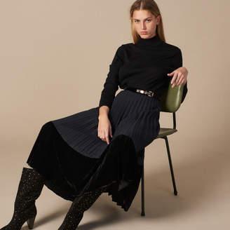 Sandro Long pleated dual material skirt