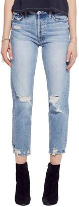 Mother The Tomcat Ripped Crop Straight Leg Jeans