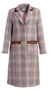 Tanya Taylor Women's Leida Leopard& Plaid Trench Coat - Blush Multi - Size Medium