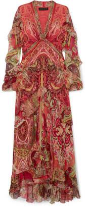 Etro Ruffled Printed Silk-chiffon Maxi Dress - Coral