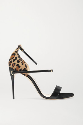 Jennifer Chamandi - Rolando Leopard-print Calf Hair And Leather Sandals - Black