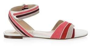 Valentino Women's Rainbow Flat Leather Sandals - Pink - Size 36 (6)