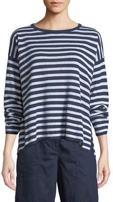 Eileen Fisher Striped Organic Linen Knit Sweater, Plus Size