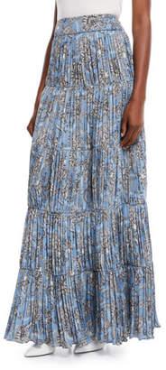 Johanna Ortiz Spiritual Activist Paisley-Print Plisse Long Boho Skirt