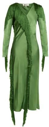 Diane von Furstenberg V Neck Fringed Dress - Womens - Green