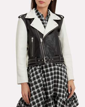 Ganni Heavy Leather Black And White Combo Jacket