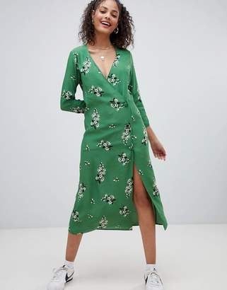Nobody's Child long sleeved midi dress with button up detail
