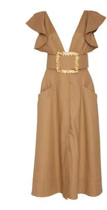 Oscar de la Renta Belted Ruffled Cotton-Poplin Midi Dress