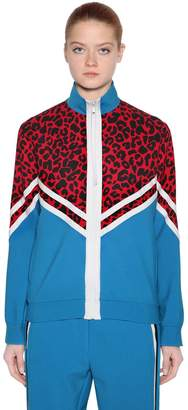 N°21 Zip-Up Leopard Jersey Sweatshirt