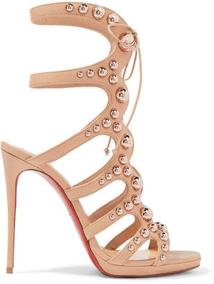 Christian Louboutin Amazoubille 120 Studded Leather Sandals - Neutral