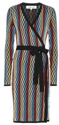 Diane von Furstenberg Striped knit wrap dress