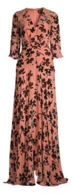 Saloni Women's Edith Burnout Velvet Maxi Dress - Nude Daisy - Size 6