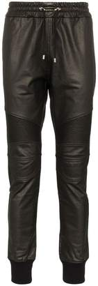 Balmain leather effect sweatpants