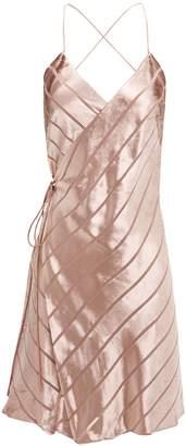 Michelle Mason Velvet Stripe Wrap Mini Dress