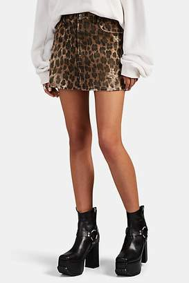 R 13 Women's Leopard-Print Denim Skirt - Neutral