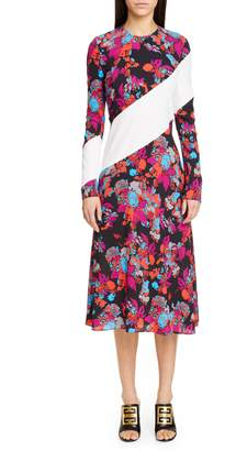 Givenchy Floral Stripe Print Crepe Midi Dress