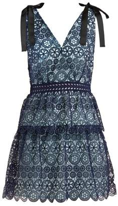 Self-Portrait Self Portrait Guipure Lace Dress - Womens - Navy