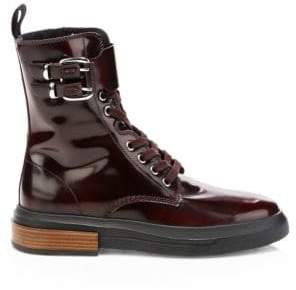 Tod's Women's Leather Combat Boots - Burgundy - Size 38 (8)