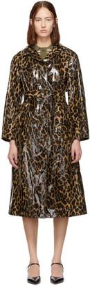 Miu Miu Beige Animal Print Cire Trench Coat