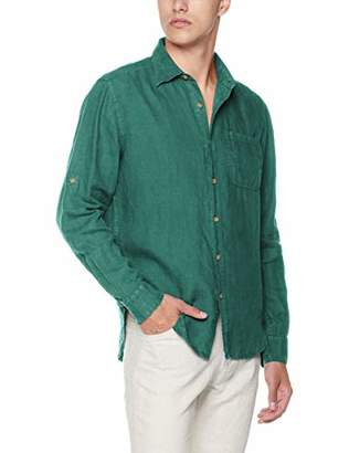 Isle Bay Linens Men's Slim-Fit 100% Linen Long-Sleeve Woven Vintage Shirt Green