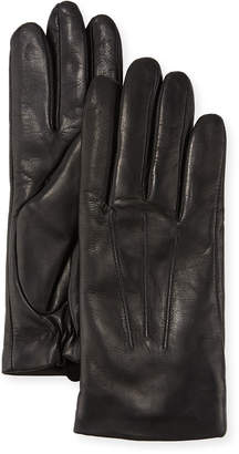 Neiman Marcus Three-Point Leather Gloves w/ Faux-Fur Lining