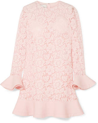 Valentino Ruffled Crepe-trimmed Guipure Lace Mini Dress - Pastel pink