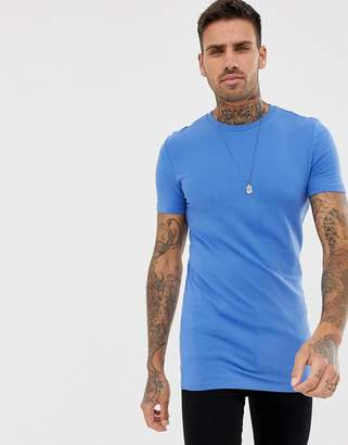 Asos Design DESIGN longline muscle fit t-shirt with crew neck in blue