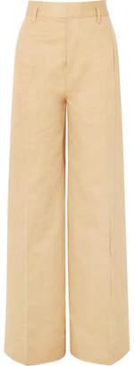 Frame Cotton And Linen-blend Wide-leg Pants - Beige