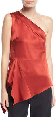Narciso Rodriguez One-Shoulder Handkerchief-Hem Silk Top