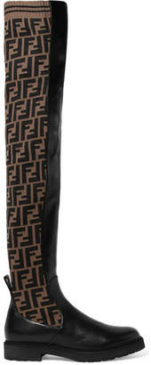 Fendi Logo-jacquard Stretch-knit And Leather Over-the-knee Boots - Black