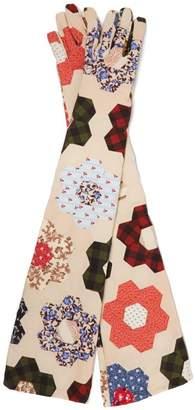 Calvin Klein Patchwork Cotton Gloves - Womens - Multi