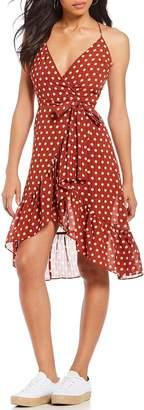 J.o.a. Dotted Ruffle Faux Wrap Dress