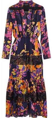 Saloni Alyssa Lace-Paneled Printed Burnout-Chiffon Midi Dress
