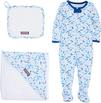 Vineyard Vines Baby Tossed Whale Bath To Bed Set