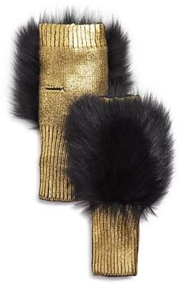 Jocelyn Fox Fur-Trim Metallic Fingerless Gloves