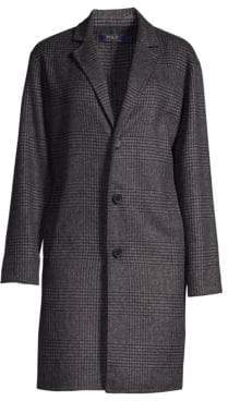 Polo Ralph Lauren Women's Wool-Blend Plaid Peacoat - Charcoal - Size Large