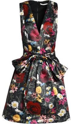 Alice + Olivia Bow-Embellished Floral-Print Satin Dress